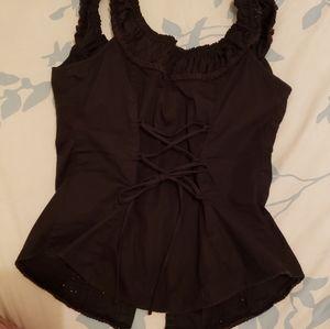 Guess eyelet lace corset blouse